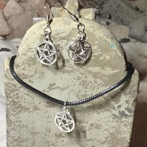 Pentagram dangle earrings and necklace set
